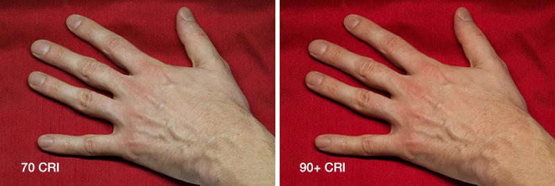 współczynnik oddawania barw CRI - jak wygląda skóra ręki dla niskich i wysokich CRI