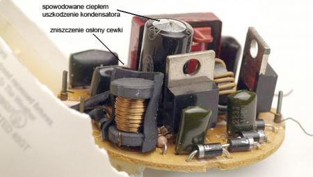 elektronika świetlówki uszkodzona w wyniku przegrzania